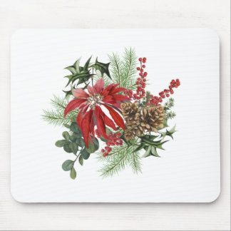 modern vintage holiday poinsettia floral mouse pad