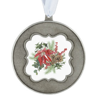 modern vintage holiday poinsettia floral ornament