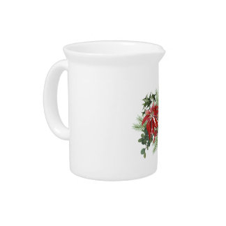 modern vintage holiday poinsettia floral pitcher