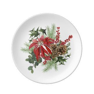 modern vintage holiday poinsettia floral plate