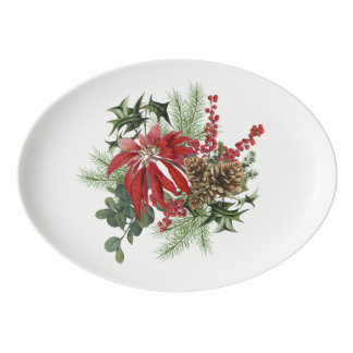 modern vintage holiday poinsettia floral porcelain serving platter