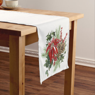 modern vintage holiday poinsettia floral short table runner