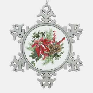 modern vintage holiday poinsettia floral snowflake pewter christmas ornament