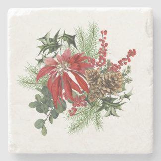modern vintage holiday poinsettia floral stone coaster