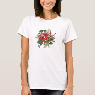 modern vintage holiday poinsettia floral T-Shirt