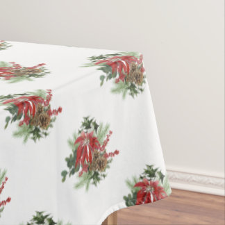 modern vintage holiday poinsettia floral tablecloth