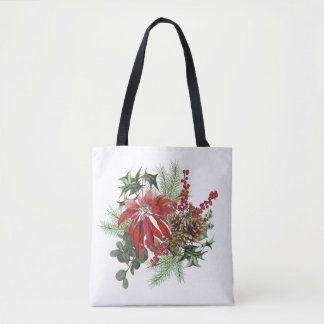 modern vintage holiday poinsettia floral tote bag