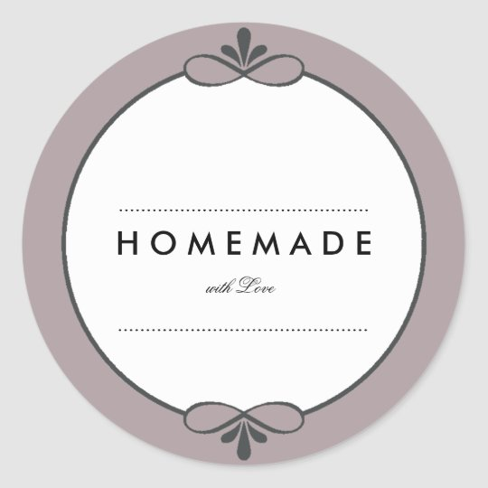 MODERN VINTAGE HOMEMADE WITH LOVE CLASSIC ROUND STICKER