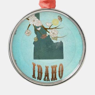 Modern Vintage Idaho State Map – Aqua Blue Silver-Colored Round Ornament