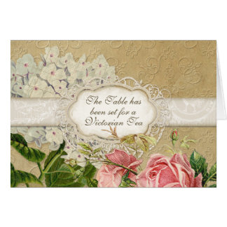 Modern Vintage Lace Tea Party, Hydrangea n Roses Card