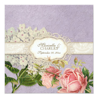 "Modern Vintage Lace Tea Stained Hydrangea n Roses 5.25"" Square Invitation Card"