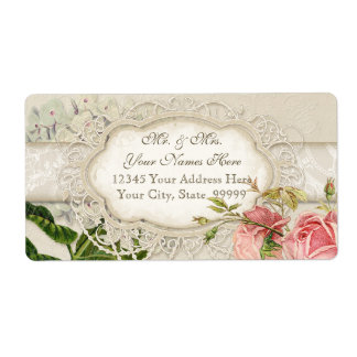 Modern Vintage Lace Tea Stained Hydrangea n Roses Shipping Label
