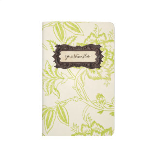 Modern Vintage Lime Floral Personalized Monogram Journal