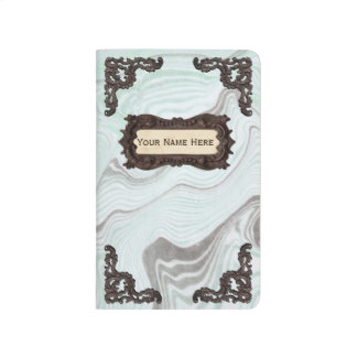 Modern Vintage Marble Pattern Personalized Name Journal