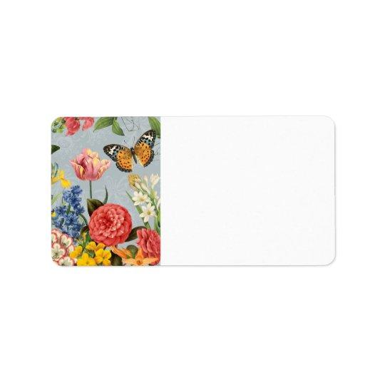 modern vintage multl botanical flowers label