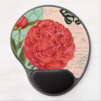 Modern vintage Peony and butterfly Gel Mouse Mat