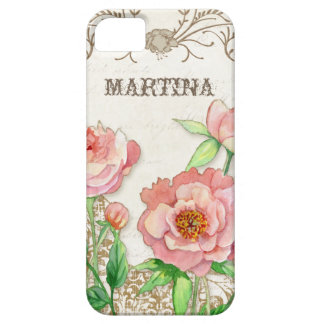 Modern Vintage Peony Floral Swirls Personalized iPhone 5 Case