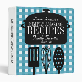 Modern Vintage Personalized Recipes Vinyl Binders