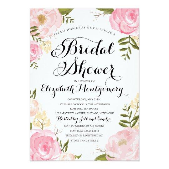 Modern Vintage Pink Floral Bridal Shower Card