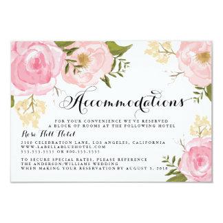 Modern Vintage Pink Floral Wedding Accommodation Card
