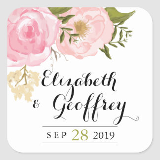 Modern Vintage Pink Floral Wedding Custom Favor Square Sticker