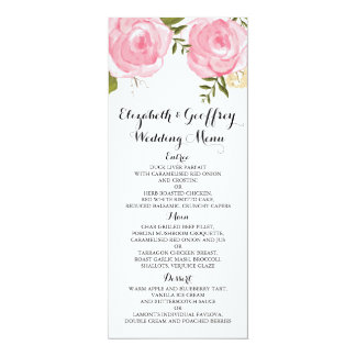 "Modern Vintage Pink Floral Wedding Menu 4"" X 9.25"" Invitation Card"