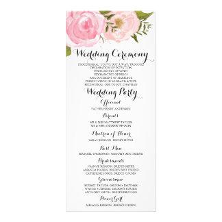 Modern Vintage Pink Floral Wedding Program Card Full Color Rack Card