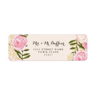 Modern Vintage Pink Floral Wedding Return Address Label