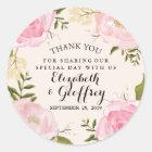 Modern Vintage Pink Floral Wedding Thank You Classic Round Sticker