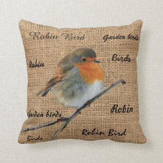 Modern Vintage Robin Bird burlap script Throw Pillow