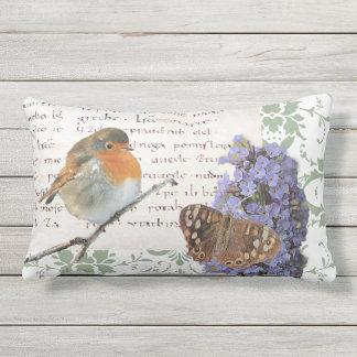 Modern vintage Robin bird flowers butterfly damask Outdoor Pillow