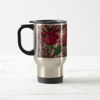 Modern Vintage Rose & Calligraphy Travel Mug