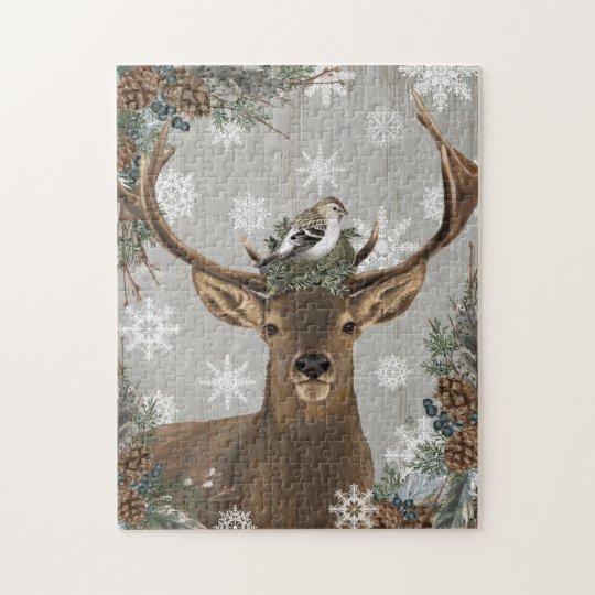 modern vintage rustic woodland winter deer jigsaw puzzle