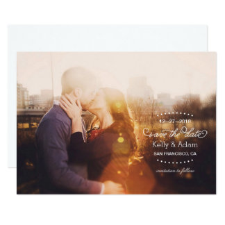 Modern Vintage Script Full Photo Save the Date Card