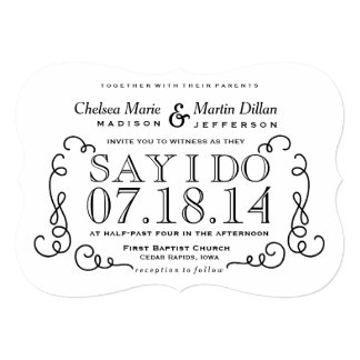 Modern Vintage Scroll Wedding Invitation Template