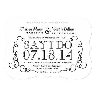 "Modern Vintage Scroll Wedding Invitation Template 5"" X 7"" Invitation Card"