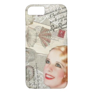 modern vintage seashell french scripts Paris girl Case-Mate iPhone Case