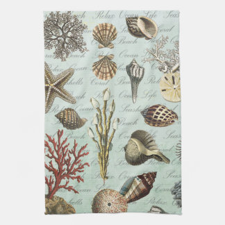 Modern Vintage Seashells Kitchen Towel