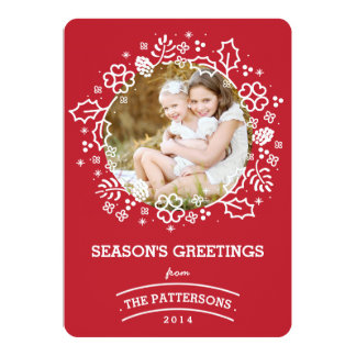 Modern Vintage Season's Greetings Photo Card | Red