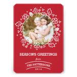 Modern Vintage Season's Greetings Photo Card | Red Custom Invite