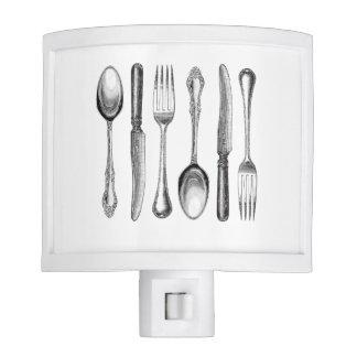 modern vintage silverware night lite
