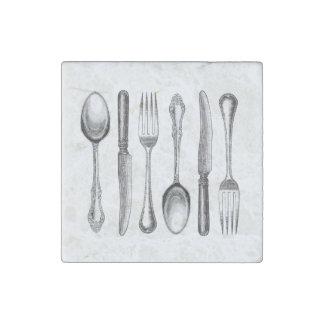 modern vintage silverware stone magnets