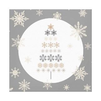 modern vintage snowflake Christmas tree Canvas Print