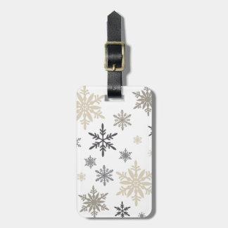 modern vintage snowflakes luggage tag