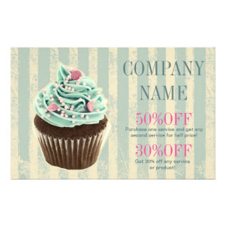 modern vintage teal  bakery dessert cupcake flyer