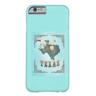 Modern Vintage Texas State Map – Aqua Blue Barely There iPhone 6 Case