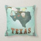 Modern Vintage Texas State Map – Turquoise Blue Throw Pillow