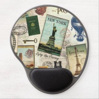 modern vintage travel collage gel mousepads