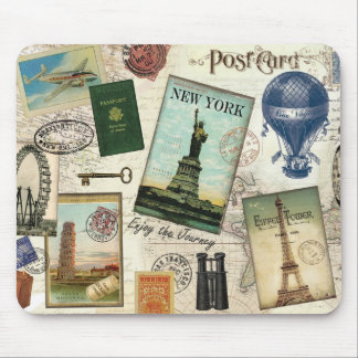 modern vintage travel collage mouse pads
