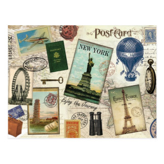 modern vintage travel collage postcard